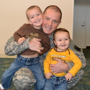 Daddy and his boys, when Daddy deployed.